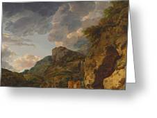 Mountain Landscape With River And Wagon Greeting Card