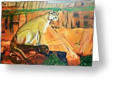 Mountain Lion In Thought Greeting Card