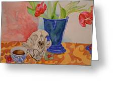 Mountain Lion Skull Tea And Tulips Greeting Card