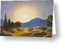 Mountain Meadow In Moonlight Greeting Card
