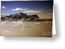 Mountain Panorama And Mist Les Gets Portes Du Soleil Morzine Haute Savoie France Greeting Card