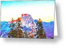 Mountain Range In Yosemite National Park Greeting Card