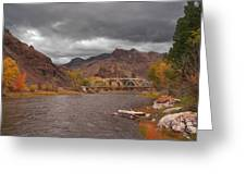 Mountain River Bridge Greeting Card
