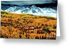 Mountain Village Autumn Greeting Card