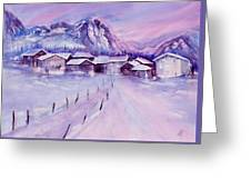 Mountain Village In Snow Greeting Card