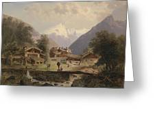 Mountain Village With Alpine Panorama Greeting Card
