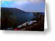 Mountain, Water And Road. Greeting Card