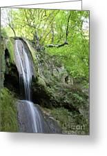 Mountain Waterfall Spring Nature Scene Greeting Card