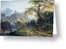 Mountainous Landscape Near Duesseldorf Greeting Card