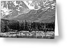Mountains Alaska Bw Greeting Card