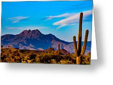 Mountains And Cactus Greeting Card