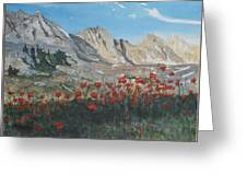 Mountains And Poppies Greeting Card