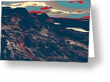 Mountains By Red Road Greeting Card