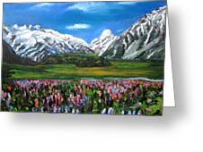 Mountains Landscape Acrylic  Painting Greeting Card