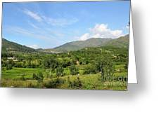 Mountains Sky And Homes In Village Of Swat Valley Khyber Pakhtoonkhwa Pakistan Greeting Card