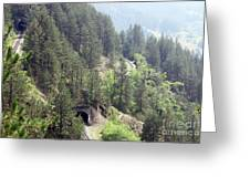 Mountains With Railroad And Tunnels  Greeting Card