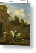 Mounted Trumpeter Taking A Drink Greeting Card