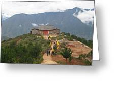 Mountian Temple Greeting Card