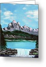 Mountian Waterfall Greeting Card