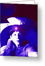 Moveonart Jacob In Blue Light Thinking Greeting Card