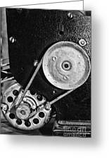 Movie Projector Gears In Black And White Greeting Card