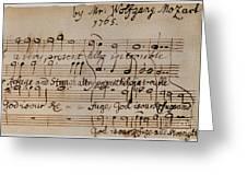 Mozart: Motet Manuscript Greeting Card by Granger