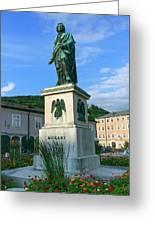 Mozart Statue In Mozartplatz, Salzburg, Austria Greeting Card