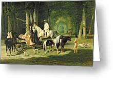 Mr And Mrs A Mosselman And Their Two Daughters Greeting Card by Alfred Dedreux