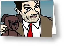 Mr Bean And Teddy Greeting Card