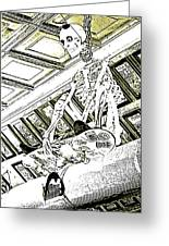 Mr Bones In Black And White With Sepia Tones Greeting Card