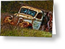 Mr Greenjeans Truck Ciose Up Greeting Card