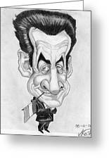 Mr Nicolas Sarkozi Caricatur Portrait Greeting Card