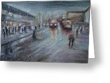 Christmas Rain Shopping Greeting Card