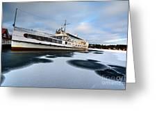 Ms Mount Washington At Winter Dock Greeting Card