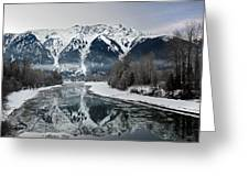 Mt Currie Reflected In Lillooet River Pemberton Greeting Card