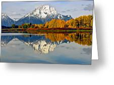 Mt Moran From Ox Bow Bend On A Fall Morning Greeting Card