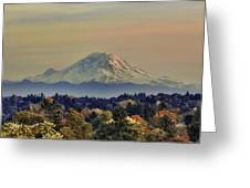Mt Rainer Fall Color Rising Greeting Card