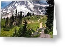 Mt. Rainier Greeting Card by Claudia Abbott