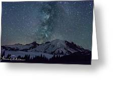 Mt Rainier Milkway Climbers Greeting Card