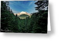 Mt Rainier Through The Trees Greeting Card