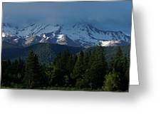 Mt Shasta Under Clouds - Panorama Greeting Card