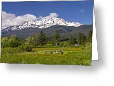 Mt Shasta With Picnic Tables Greeting Card