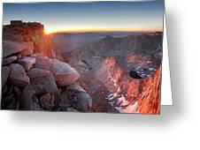 Mt Whitney And Pinnacles Sunrise - John Muir Trail Greeting Card