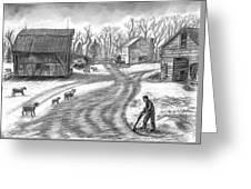 Muddy South Dakota Farmyard Greeting Card