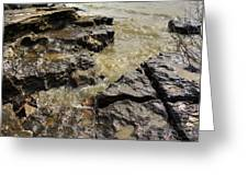 Muddy Water On The Rocks Greeting Card