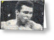 Muhammad Ali Butterfly Bee Mosaic Greeting Card by Paul Van Scott