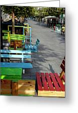 Multi-colored Benches On The Pedestrian Zone Greeting Card