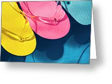 Multicolored Flip Flops Floating In Pool Greeting Card