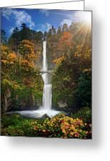 Multnomah Falls In Autumn Colors -panorama Greeting Card