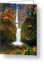 Multnomah Falls In Autumn Colors Greeting Card